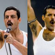 "A aide-by-side comparison between Queen and Rami Malek, who starred as Freddi Mercury in ""Bohemian Rhapsody"""