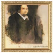 """An AI-generated portrait of a man, a work titled """"Edmond de Belamy"""""""