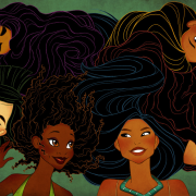 An image featuring the women of color protagonists in Disney movies