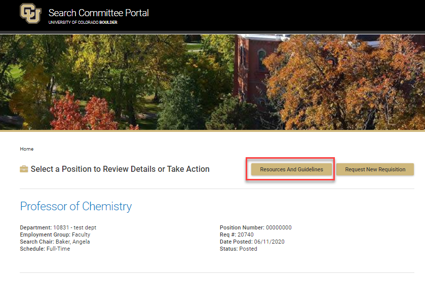 Screen shot of search committee portal. Contact recruting@colorado.edu for questions.