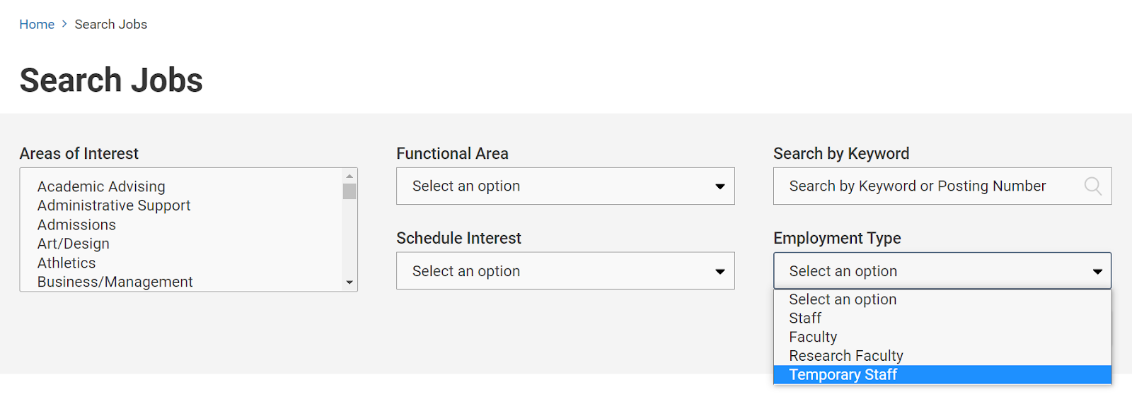 screen shot of jobs portal