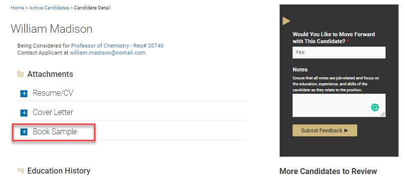 Screen shot of search committee portal. contact recruiting@colorado.edu.