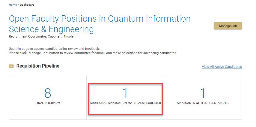 Screen shot of search committee portal. contact recruiting@coloraod.edu