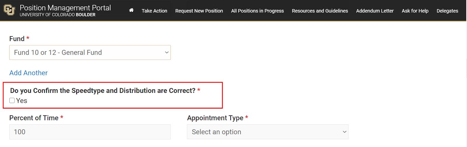 Screen shot of position management portal. contact recruiting@colorado.edu