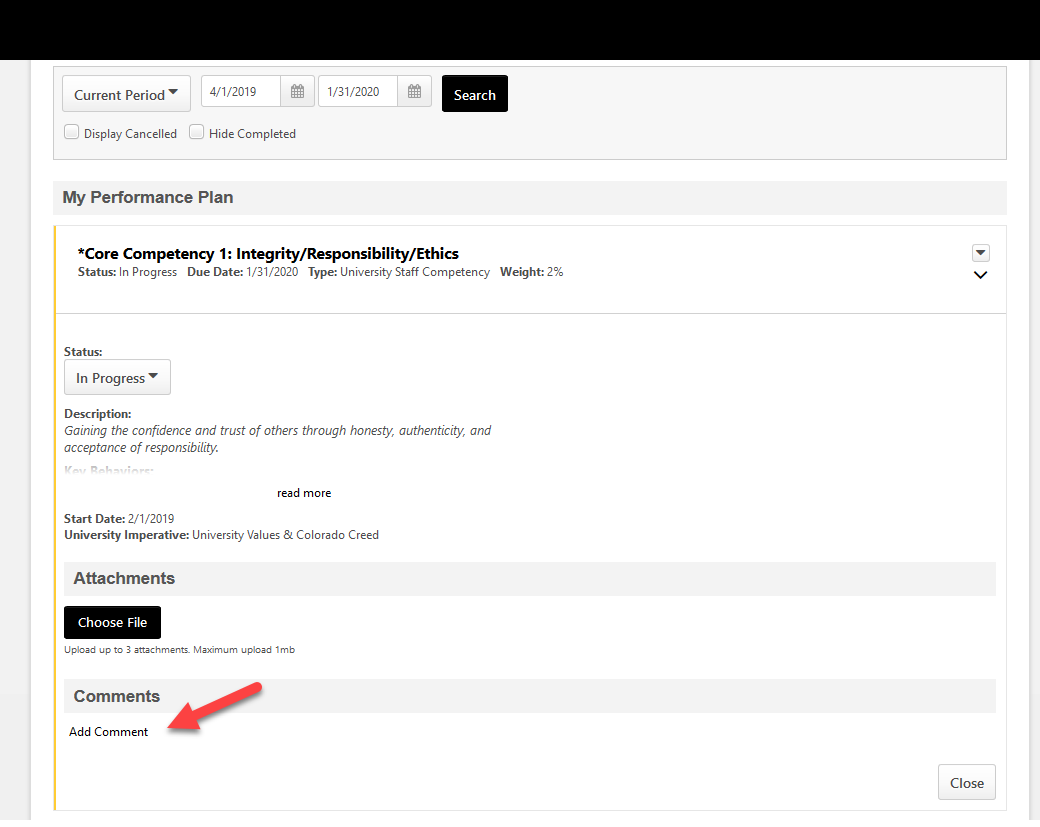 screenshot of cornerstone team performance plan page highlighting the add comments button