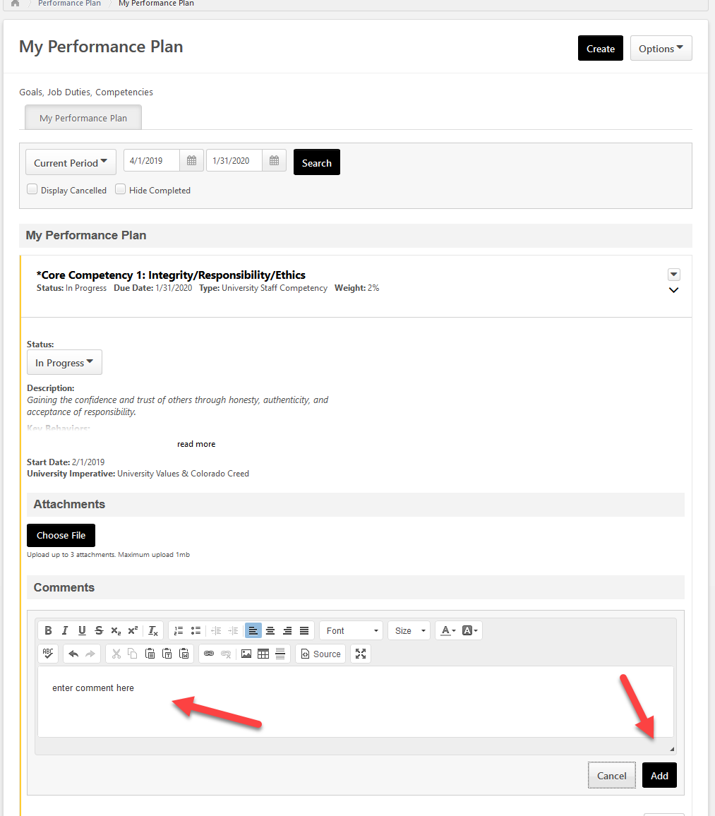 screenshot of the cornerstone team performance plan page highlighting the comment box and save button