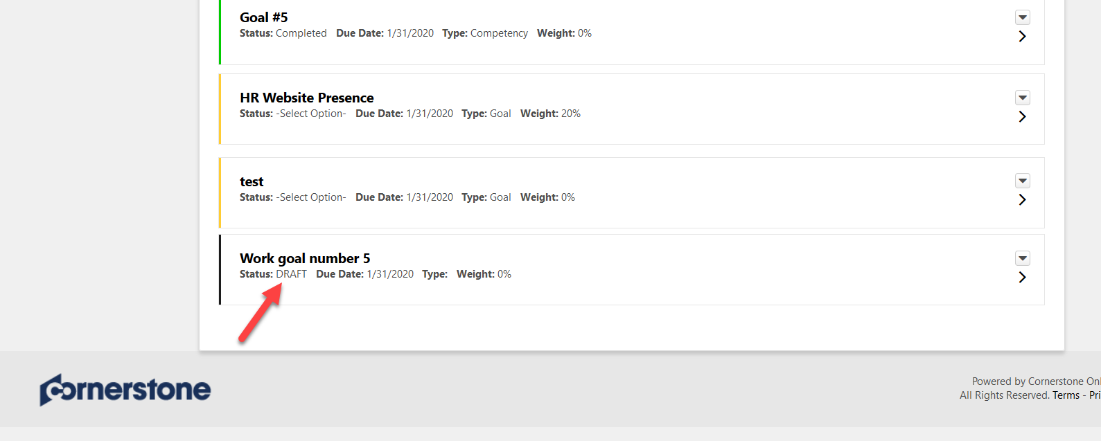 screenshot of cornerstone performance plan page highlighting a goal shown in draft status