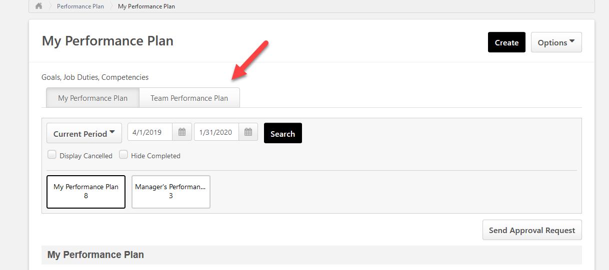 screenshot of cornerstone performance plan page highlighting the team performance plan tab