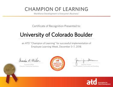 ATD Champion of Learning Certificate