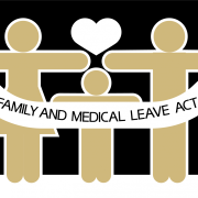 Stick figures holding a banner that says FMLA