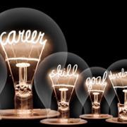"Lightbulbs with ""career"", ""skill"",""growth"" written inside"