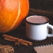 Pumpkin spice latte and books