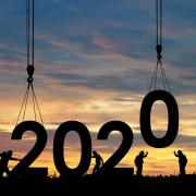 The numbers 2020 being constructed