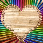 colored pencils make a heart shape