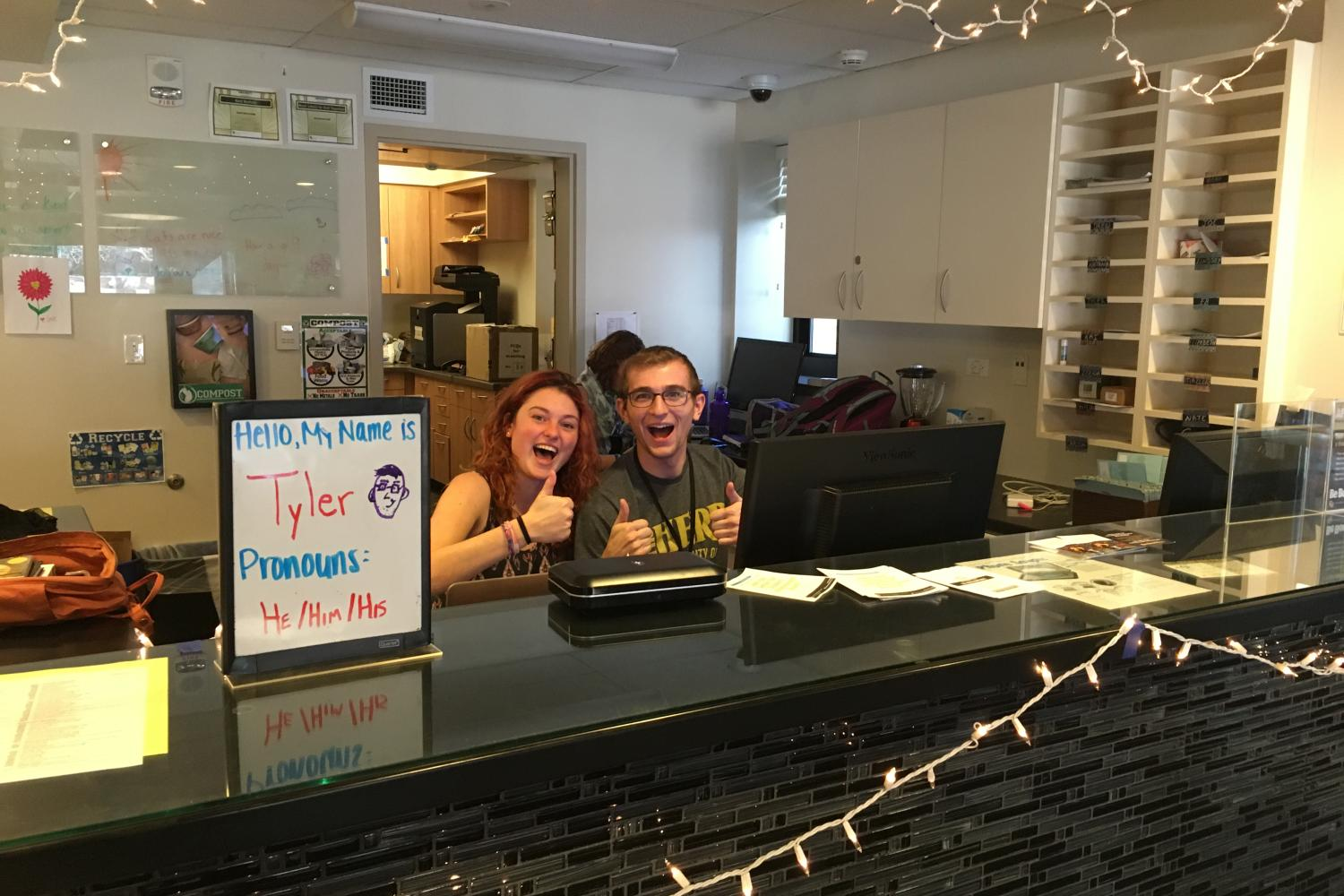 Students at the front desk