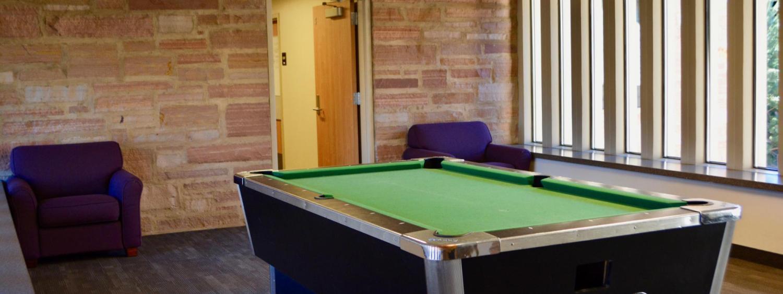 billiard table in Smith Hall