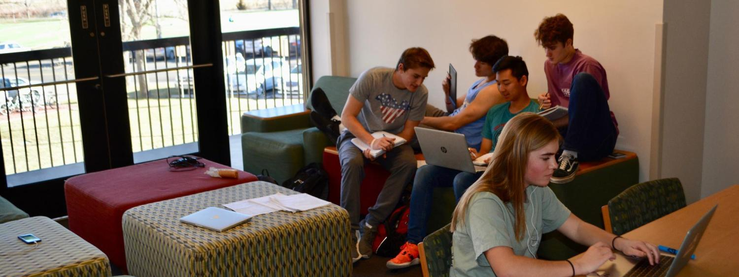 students studying in a study lounge in Smith Hall