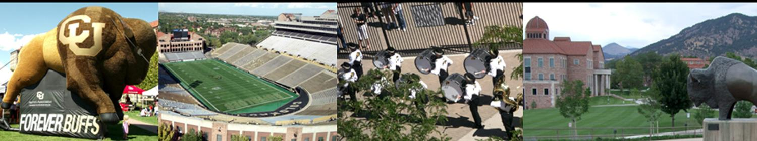 CU Buffalo Inflatable Mascot, Folsom Field, Marching Band, and Business Field
