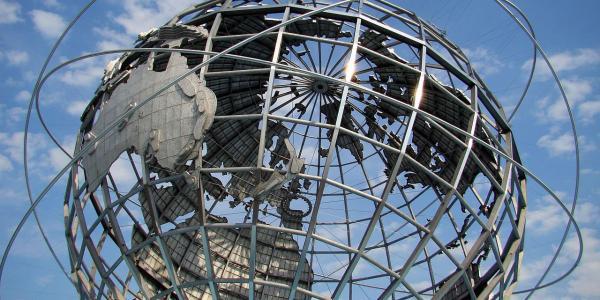 metal globe sculpture