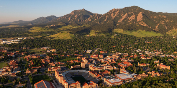 2018 Aerials over CU Boulder and surrounding Boulder area. (Photo by Glenn Asakawa/University of Colorado)