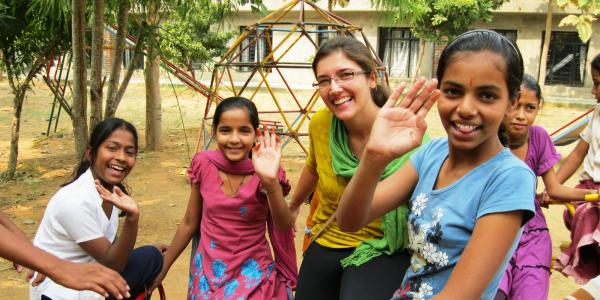 Renee with students in India