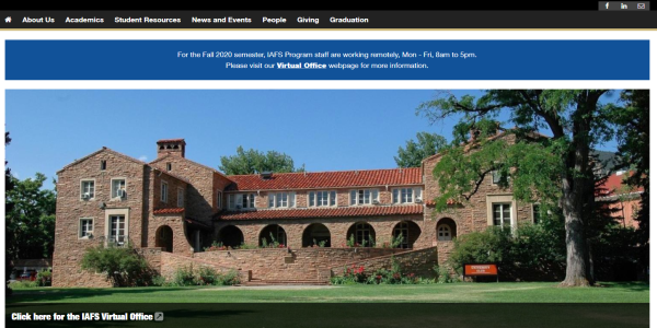 screenshot of IAFS homepage showing university club building