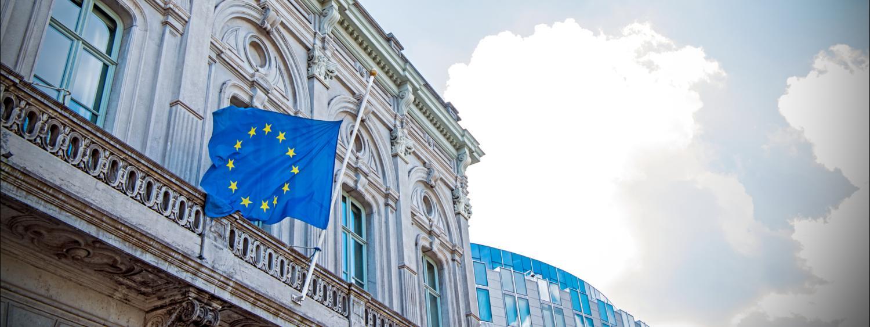 european union studies international affairs program eu flag outside building in europe