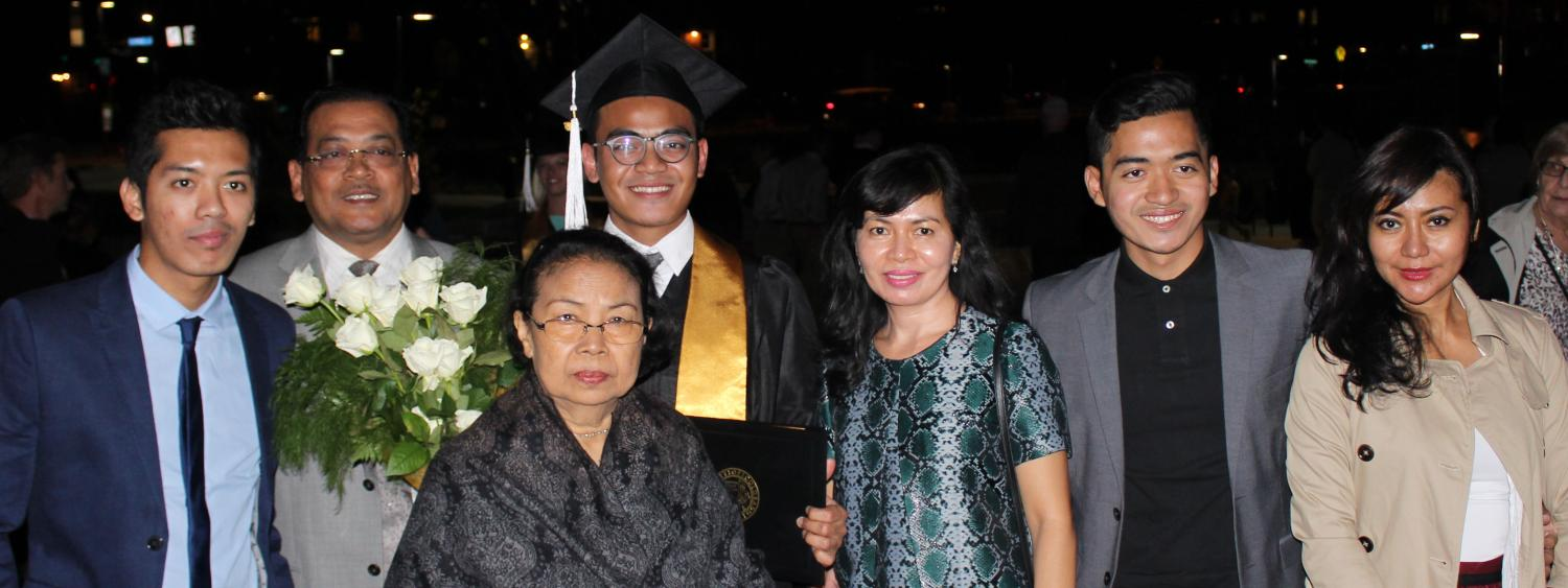 graduate with family from indonesia