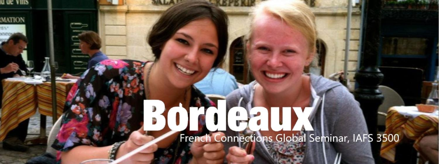2 girls eating snails with the word bordeaux in white letters across the front