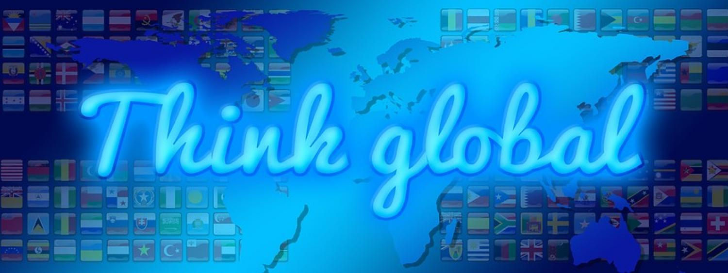 think global blue words with flag background (mini flags)