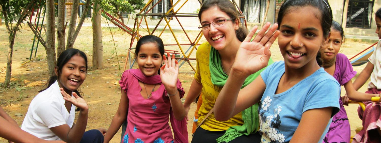 renee with kids in india