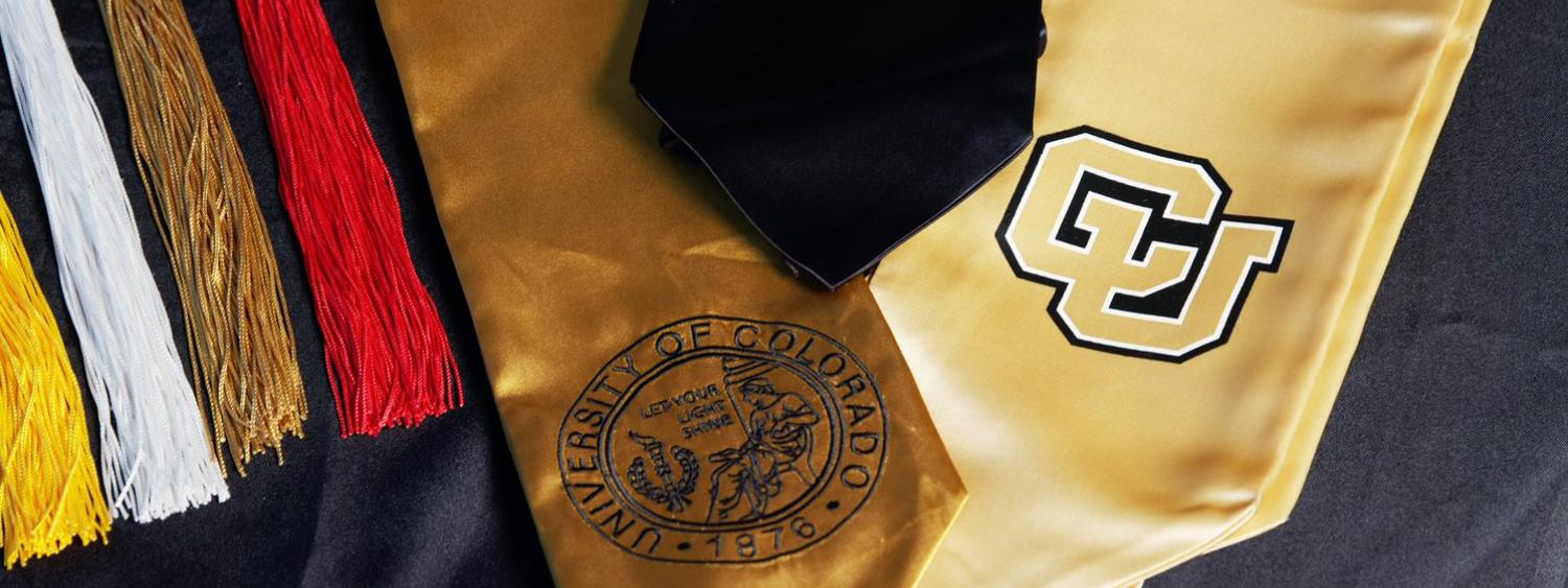 cu graduation stoles and colorful tassels