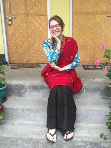 Kayla Malcy wearing her host family's traditional Gurung dress.