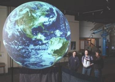 globe with students
