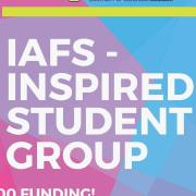 IAFS inspired student group lettering that is blue and pink