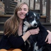 June Gruber with Dog