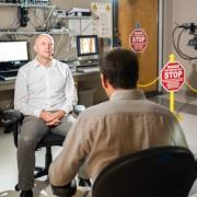 Professor McKell Carter discusses his research with a documentary crew at CU Boulder's Intermountain Neuroimaging Consortium. (Photo courtesy of Teryn S. Wilkes)