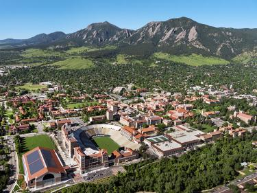 Aeriel view of CU Boulder Campus