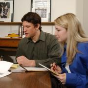 students advising entrepreneur during law clinic