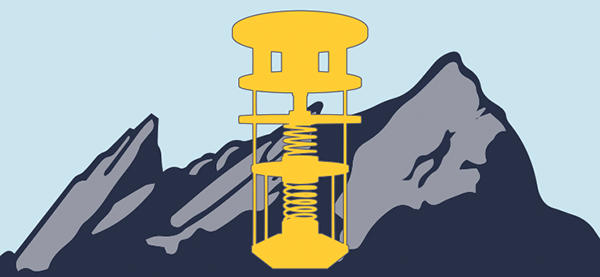 Stylized image of dilution refrigerator over the Boulder flatirons