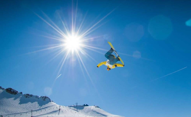 Snowboarder using a burton snowboard