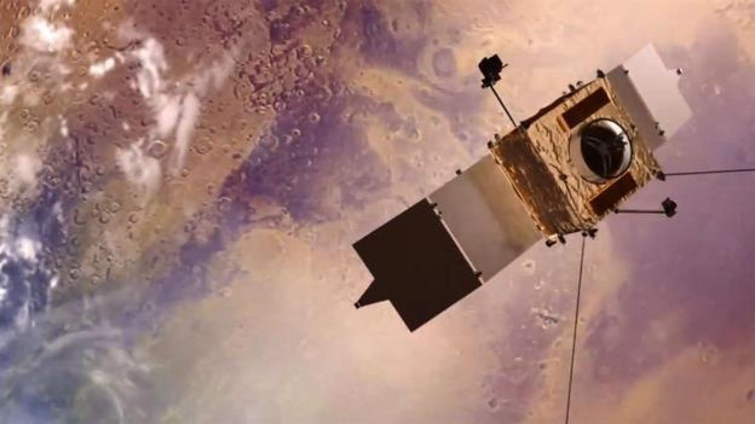 Rendering of Maven satellite in orbit