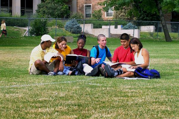 Students sitting on grass working on a project