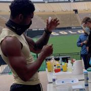 athlete taking covid test