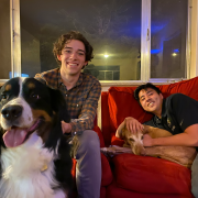 bruno geoly with dog on couch