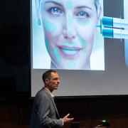 Corey Neu pitching his new innovation next-generation dermal fillers