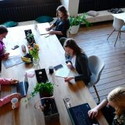 women co-working