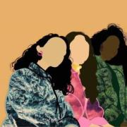 art piece of four multiethnic women hugging