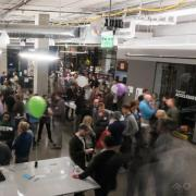A large group of mentors and New venture challenge teams network