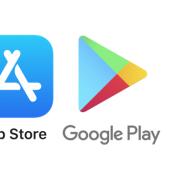 apply play and google store logos